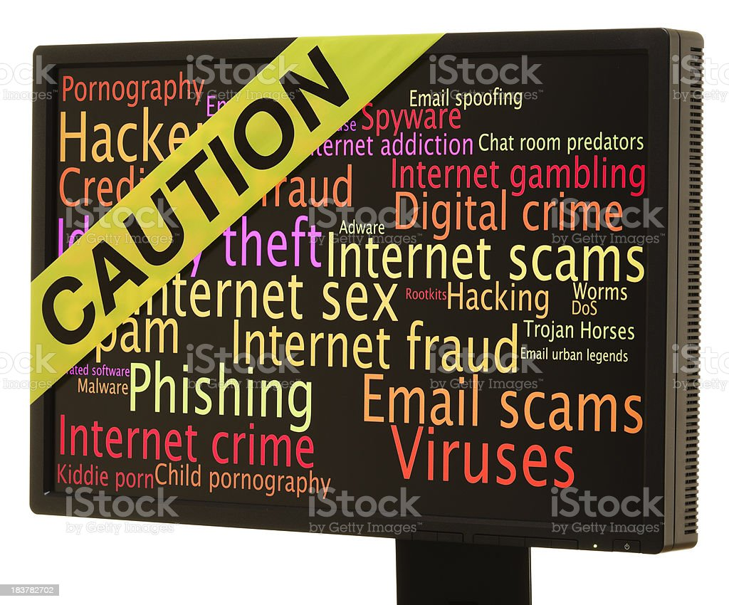 Internet dangers word cloud and caution tape royalty-free stock photo
