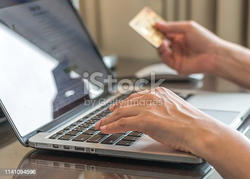 846708102 istock photo Internet e-payment banking service with consumer buyer using credit card paying purchase for online shopping business via intelligent digital communication 1141094596