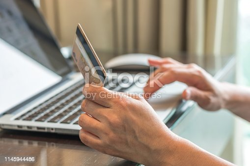 846708102 istock photo Internet e-payment banking service with consumer buyer using credit card paying purchase for online shopping business via intelligent digital communication 1145944486