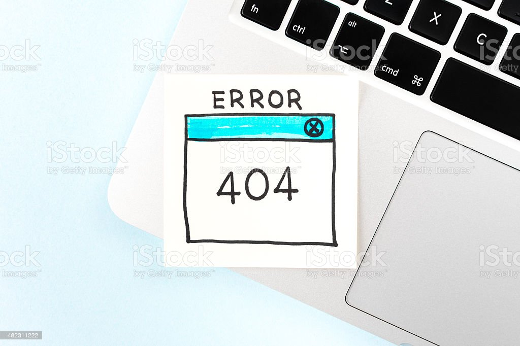Internet Error 404 'Page Not Found' on computer keyboard notebook. stock photo