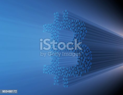 istock Internet finance, data transmission,bitcoin 953468172