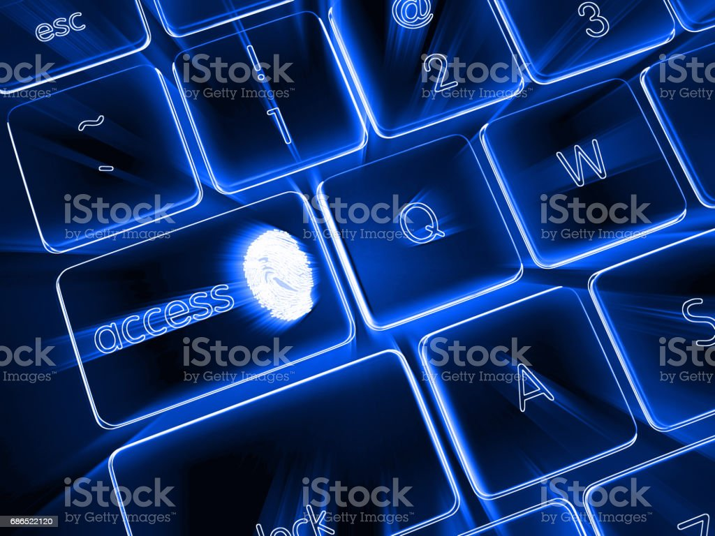 Internet fingerprint cyber security concept foto stock royalty-free