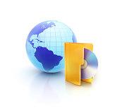 istock Internet Globe with cd or dvd folder icon 453594749