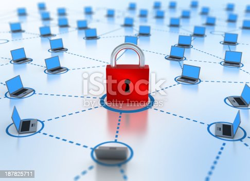 istock Internet Network concept - security in focus 187825711