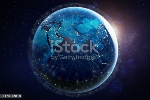 Internet network for fast data exchange around planet Earth from space, global telecommunication satellite grid over the world for IoT, mobile web, financial technology, 3d render. Some elements from NASA (https://eoimages.gsfc.nasa.gov/images/imagerecords/57000/57752/land_shallow_topo_2048.jpg)