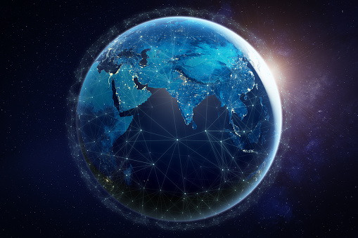 185274311 istock photo Internet network for fast data exchange around planet Earth from space, global telecommunication satellite grid over the world for IoT, mobile web, financial technology, 3d render, elements from NASA 1174175318