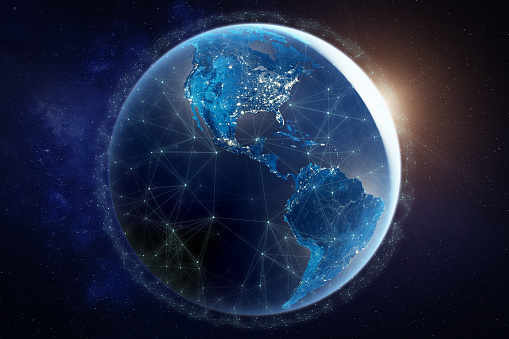 185274311 istock photo Internet network for fast data exchange over America from space, global telecommunication satellite around the world for IoT, mobile web, financial technology, 3d render, Earth elements from NASA 1174505867