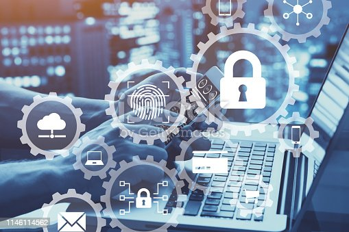 istock Internet network security concept with icons of secure access, biometrics password technology, data protection against cyber attack, cybersecurity 1146114562