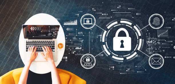 Internet network security concept with person using a laptop Internet network security concept with person using a laptop on a white table privacy stock pictures, royalty-free photos & images