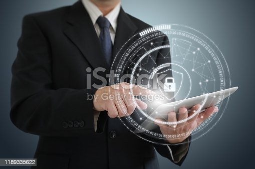 502195097istockphoto Internet network security data protection lock shield 1189335622