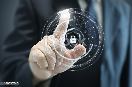 502195097istockphoto Internet network security data protection lock shield 1189335745