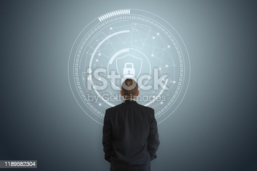 502195097istockphoto Internet network security data protection lock shield 1189582304