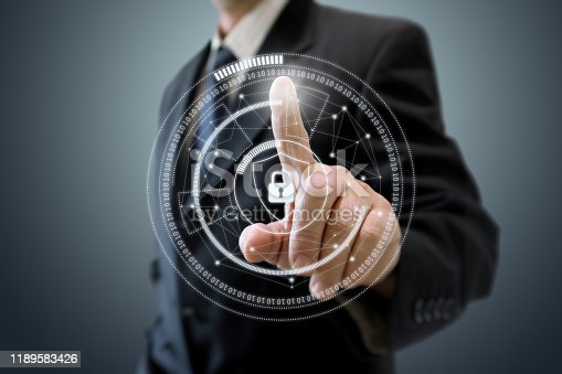 502195097istockphoto Internet network security data protection lock shield 1189583426