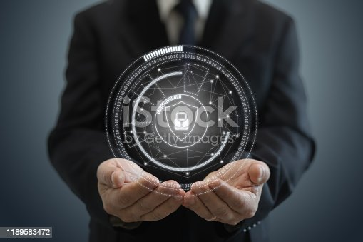 502195097istockphoto Internet network security data protection lock shield 1189583472
