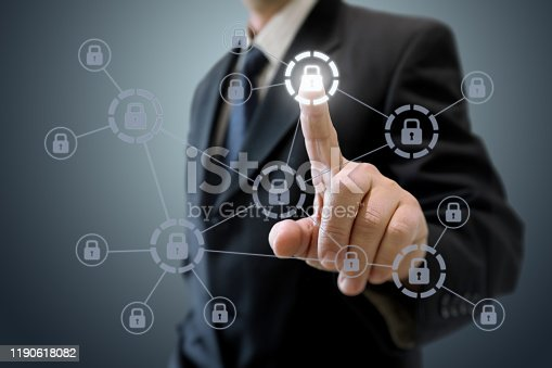 502195097istockphoto Internet network security data protection lock shield 1190618082