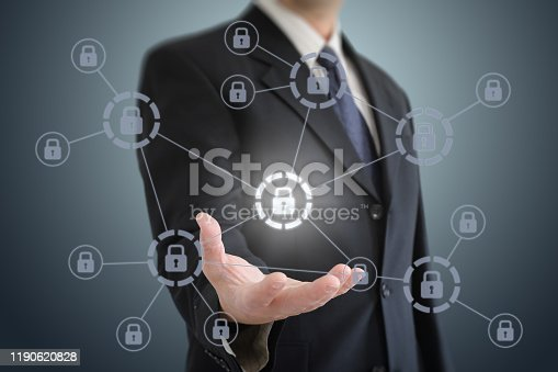 istock Internet network security data protection lock shield 1190620828