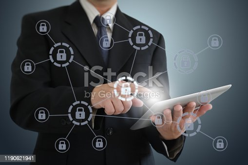 502195097istockphoto Internet network security data protection lock shield 1190621941