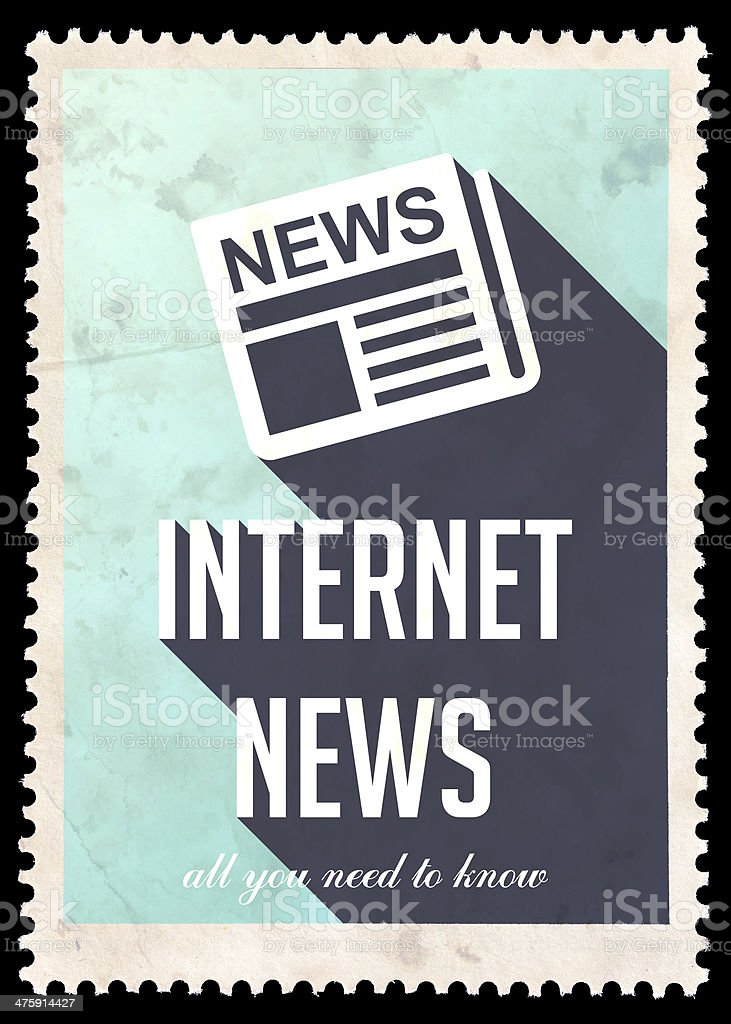 Internet News on Blue in Flat Design. royalty-free stock photo
