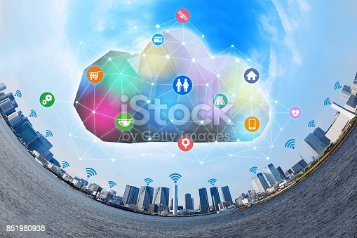 istock Internet of Things(IoT) and Cloud Computing concept. Smart City. Sensor Network. Cyber-Physical Systems(CPS). Internet of Everything(IoE). 851980938