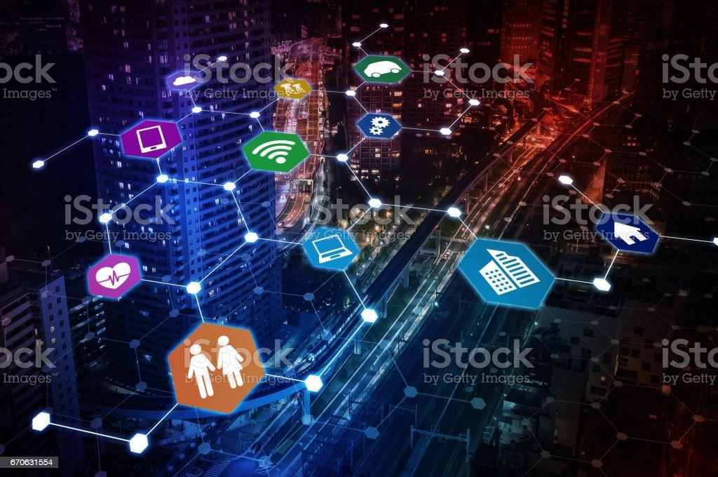 Internet of Things concept abstract image visual, smart city, smart grid, sensor network, environmental monitoring stock photo