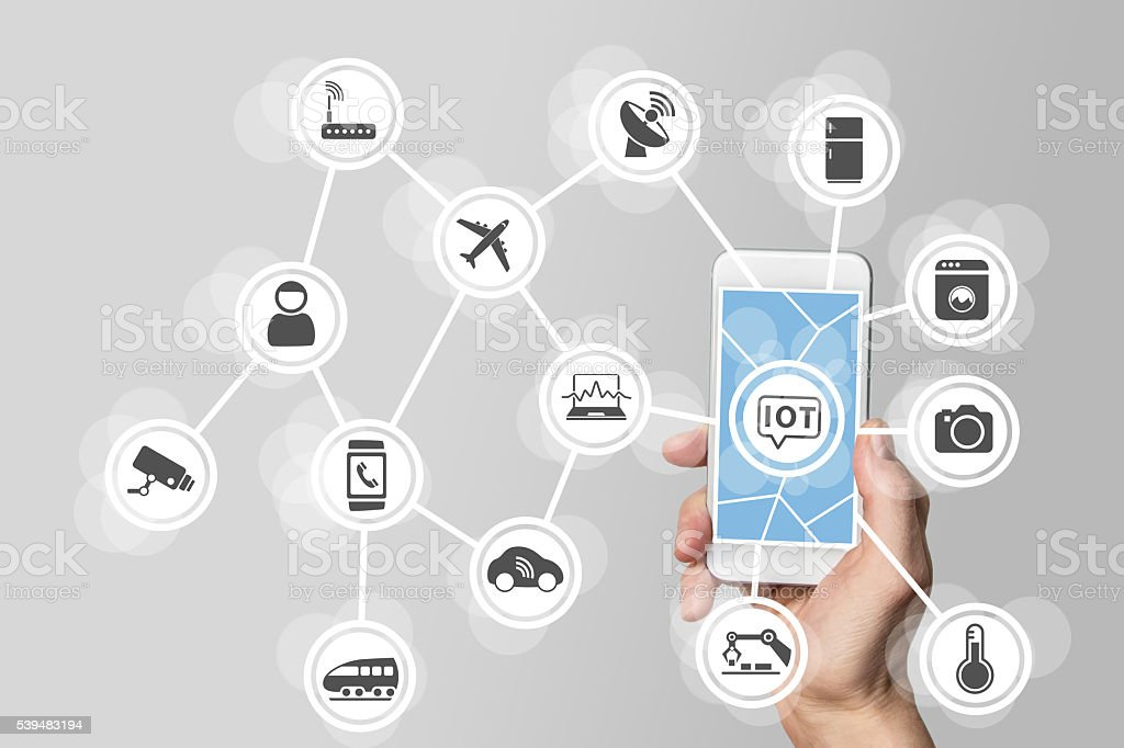 Internet of things (IOT) concept illustrated by modern smartphone bildbanksfoto