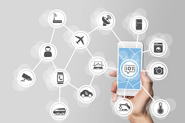Internet of things (IOT) concept illustrated by modern smartphone stock photo