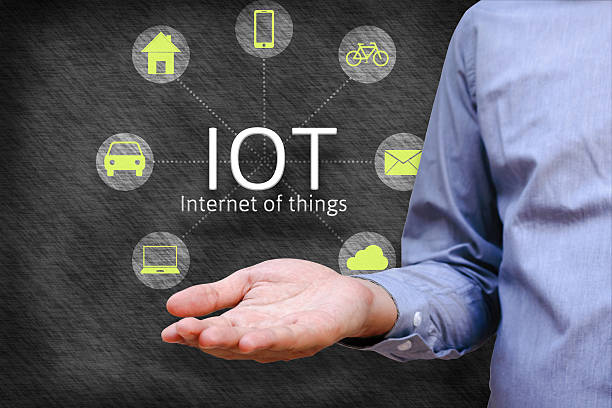 Internet of things (IoT) concept. Man show iot link network - foto de acervo