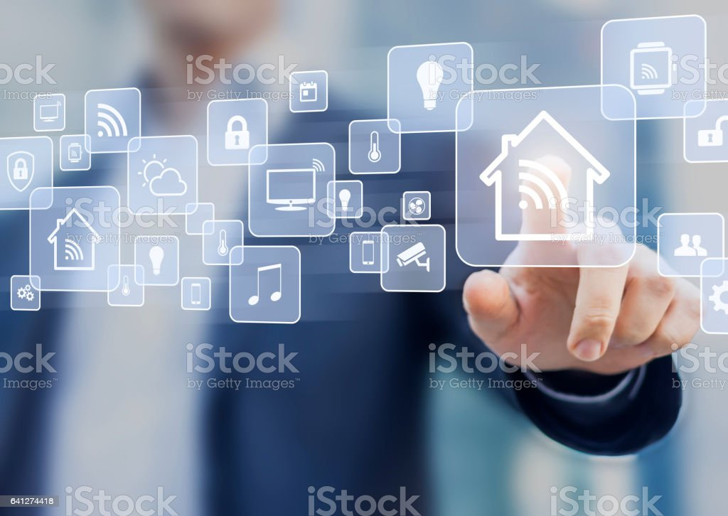 Internet of things (IOT) concept related to smart home automation stock photo