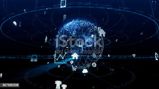 istock Internet of Things concept. Various icons floating in cyberspace. 957995308