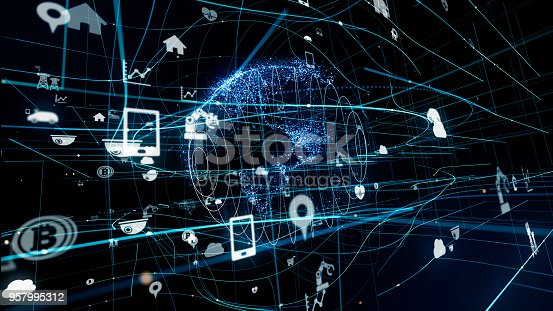 istock Internet of Things concept. Various icons floating in cyberspace. 957995312