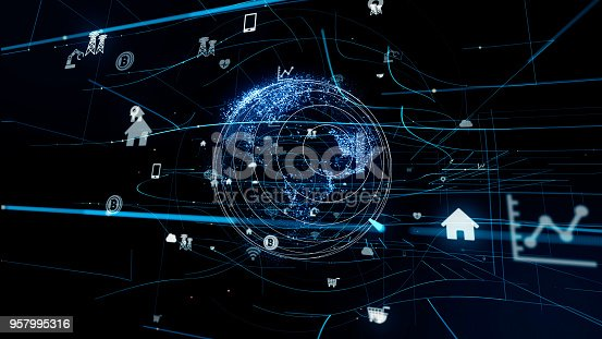 istock Internet of Things concept. Various icons floating in cyberspace. 957995316
