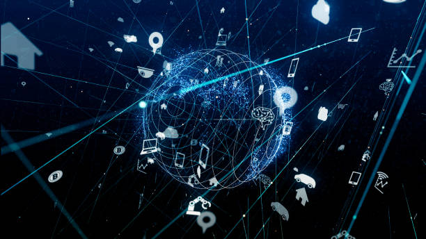 internet of things concept. various icons floating in cyberspace. - money black background stock photos and pictures