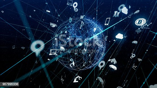 istock Internet of Things concept. Various icons floating in cyberspace. 957995336