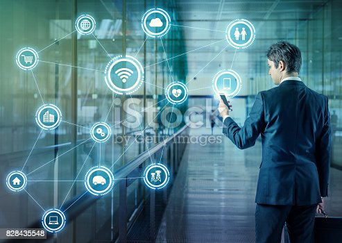 istock Internet of Things concept. Wireless Communication Network. Information Communication Technology. abstract image visual. 828435548