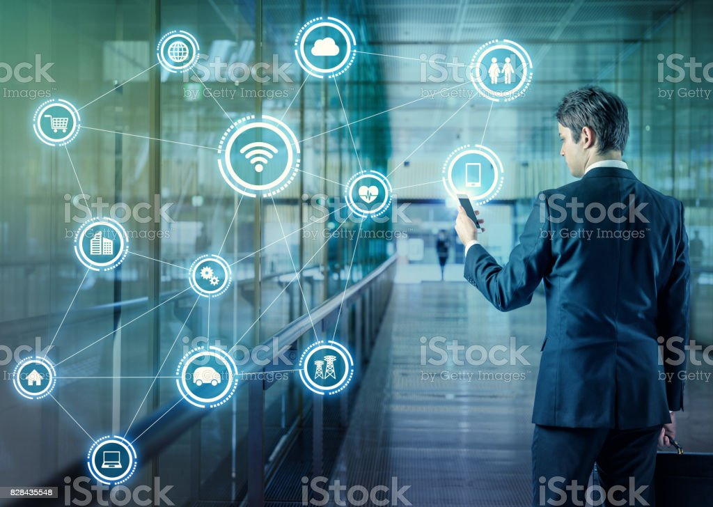 Internet of Things concept. Wireless Communication Network. Information Communication Technology. abstract image visual. stock photo