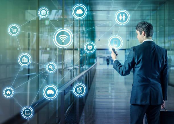 物事のインターネットの概念。無線通信ネットワーク。情報通信技術。抽象的なイメージのビジュアル。 ストックフォト