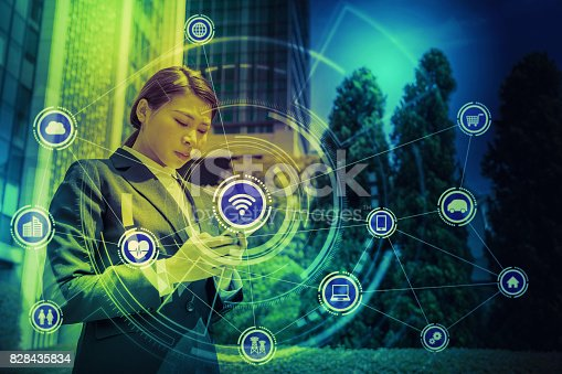 691790416istockphoto Internet of Things concept. Wireless Communication Network. Information Communication Technology. abstract image visual. 828435834