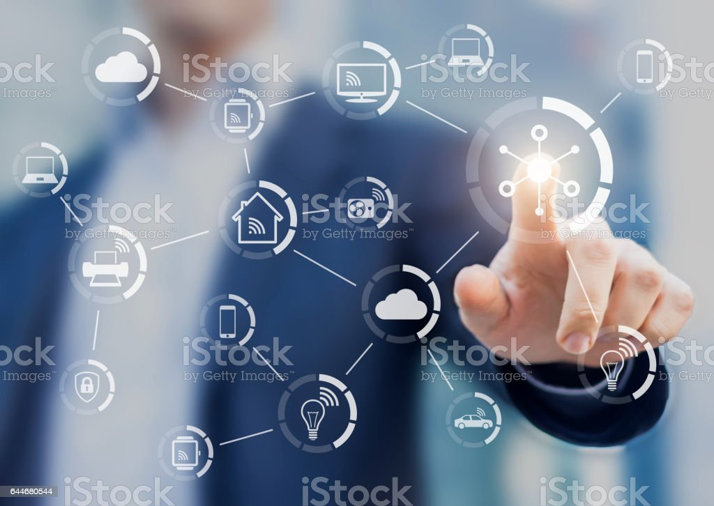 Internet of things (IOT) concept with network of connected objects stock photo