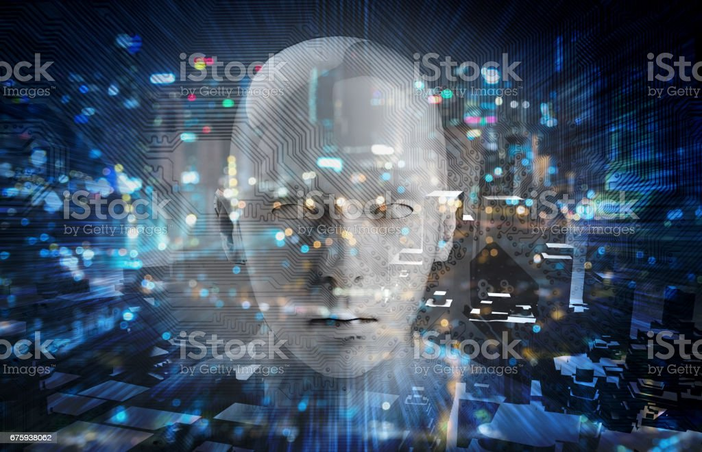 Internet of things Disruption everything , neural network , deep learning , artificial intelligence concept. 3d rendering of robot face , blue bokeh and building abstract background. stock photo