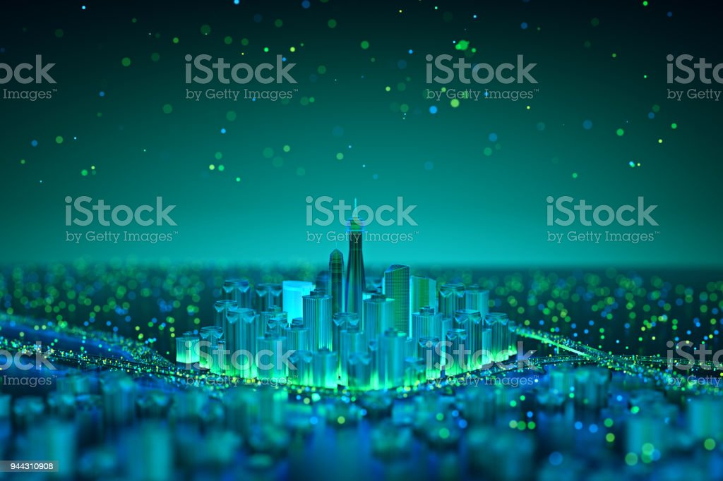 Internet of Things. Futuristic technology background,Cyberspace game city.3d rendering stock photo