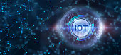 istock Internet of things - IOT concept. Businessman offer IOT products and solutions. Young businessman  select the abstract chip with text IoT on the virtual display. 1215247403