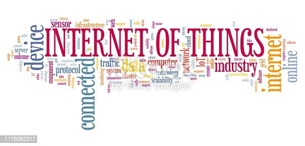 Internet of Things (IoT) - online connected devices technology. Word cloud concept.