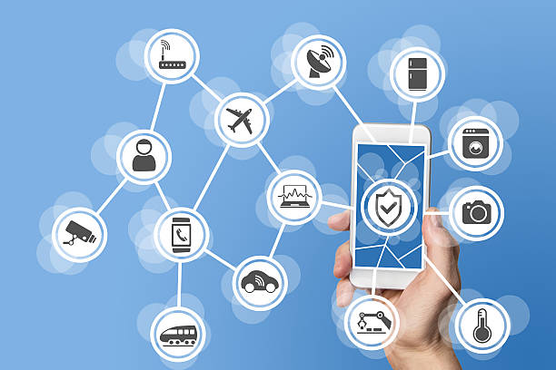 Internet of things security concept illustrated stock photo