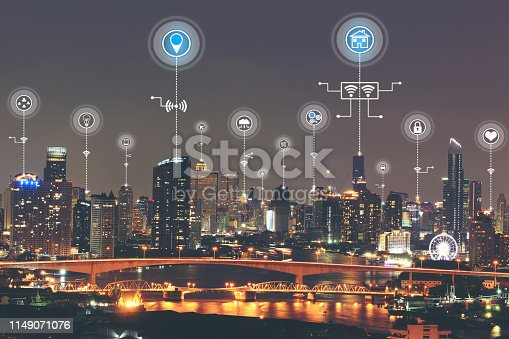 istock Internet of Things (IoT), Smart city with smart services and icon or hologram, Communication network service and Business concept 1149071076