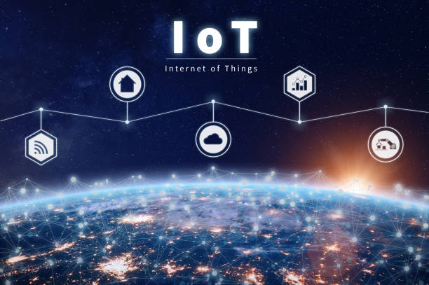 Internet of Things technology with connected IoT network around Earth stock photo