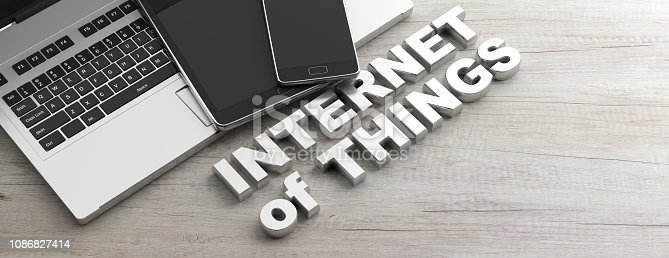 istock Internet of things text and electronic devices, wooden background, banner, copy space. 3d illustration 1086827414