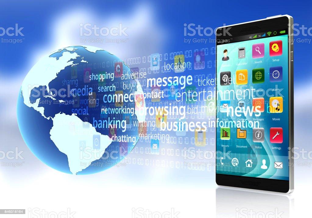 Internet on Smart rphone stock photo
