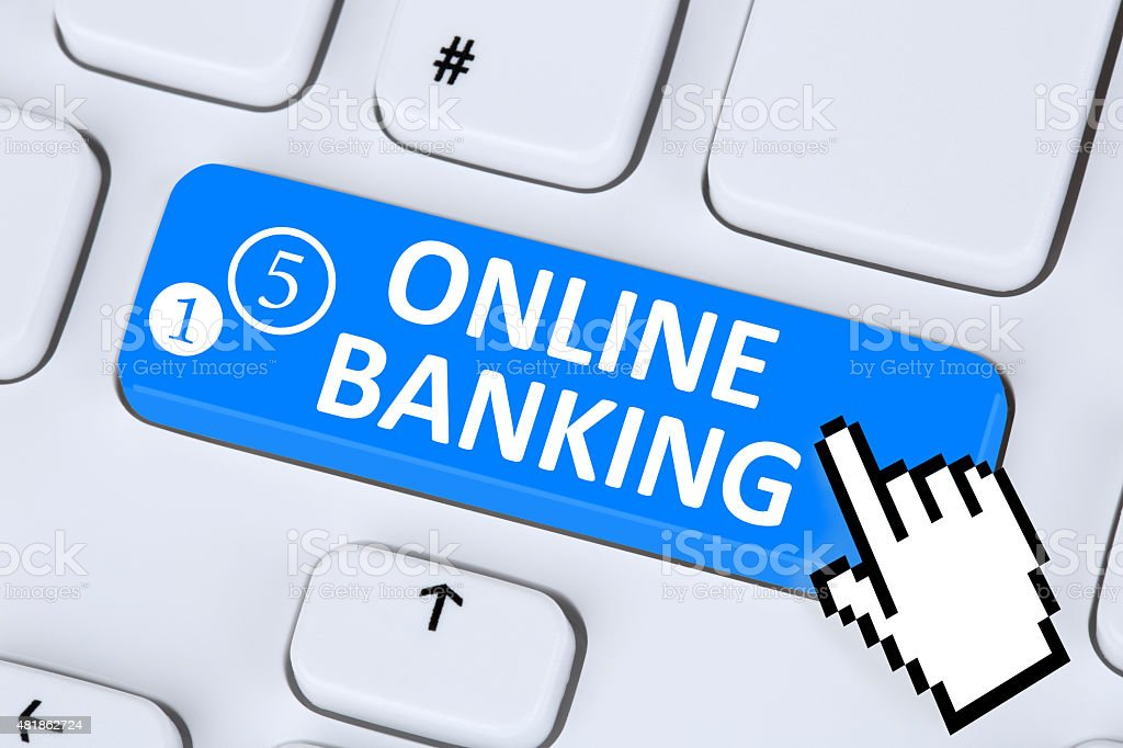 Internet online banking financial transaction on computer stock photo