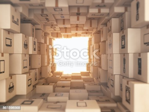 istock Internet online shopping and delivery concept. Household kitchen appliances and home technics in boxes.E-commerce abstract background from carton boxes. 861598568