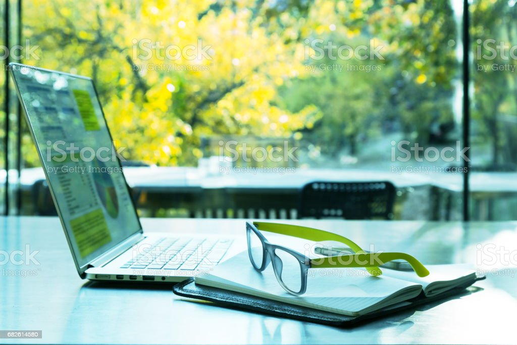 Internet Project Work at cozy Summer Location stock photo